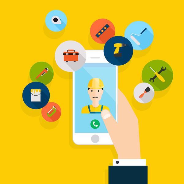 Illustration of a hand holding a phone with a worker on the screen and various tools in circles outside the phone